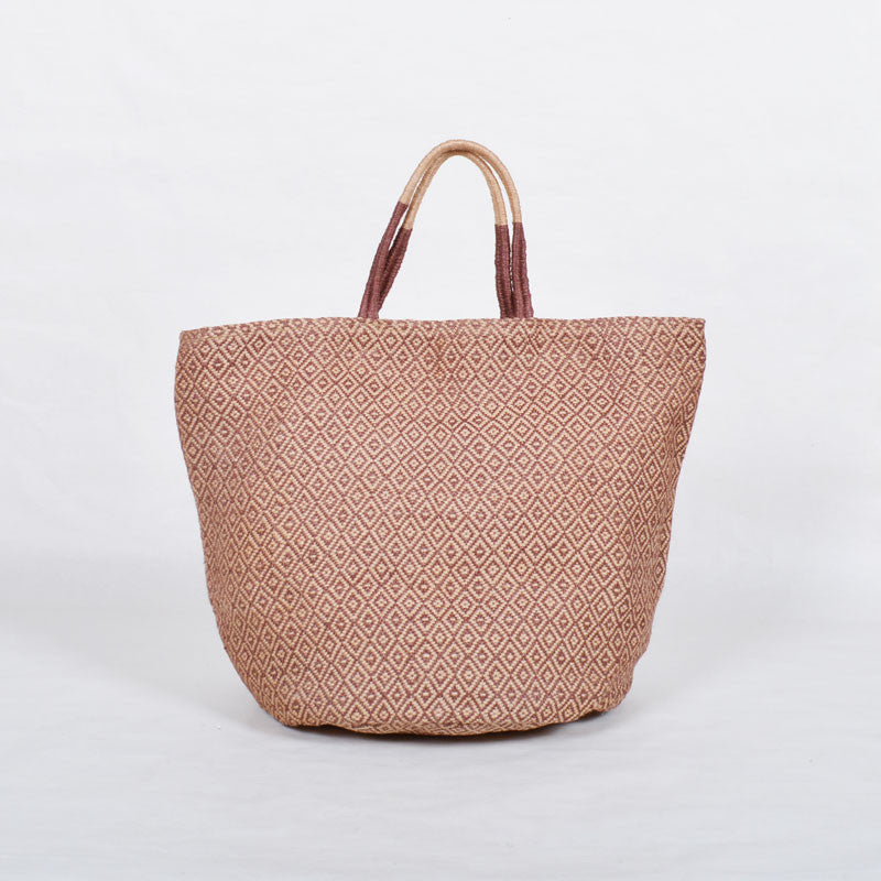 Handwoven Jute Bucket Tote Bag Diamond Pattern Brown Large