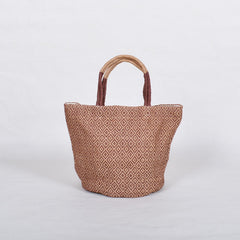 Handwoven Jute Bucket Tote Bag Diamond Pattern Brown Small