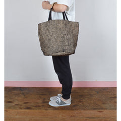 Handwoven Jute Bucket Tote Bag Diamond Pattern Black Small