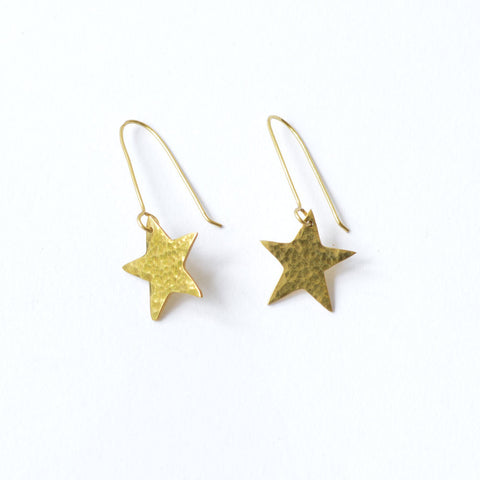 Star Earrings Hammered Brass