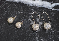 Crochet Silver & Crystal Ball Stud Earrings