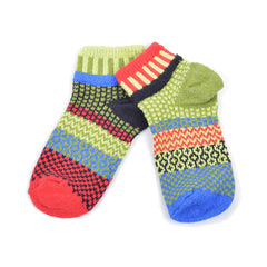 Multi Coloured Ankle Socks Recycled Cotton - red/black/blue/green