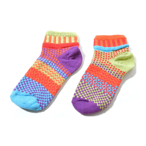Multi Coloured Ankle Socks Recycled Cotton - orange/red/blue/green/purple