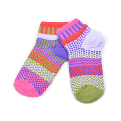 Multi Coloured Ankle Socks Recycled Cotton - red/green/purple/pink/lilac