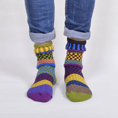 Multi Coloured & Mismatched Socks Recycled Cotton - green/yellow/black/blue/purple