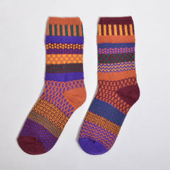 Multi Coloured & Mismatched Socks Recycled Cotton - orange/purple/plum/green/mustard