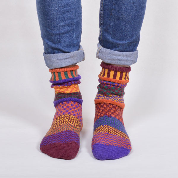 where can i buy free shipping on feet at Multi Coloured & Mismatched Socks Recycled Cotton -  orange/purple/plum/green/mustard