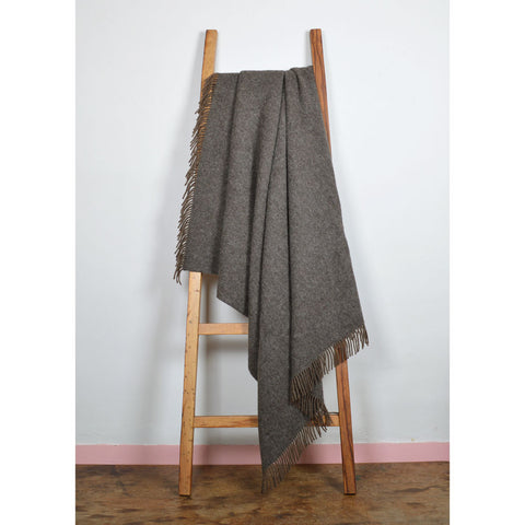 Real Shetland Wool Throw Un-dyed - naturally coloured dark brown