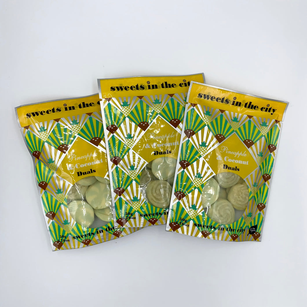 Sweets In The City Pineapple & Coconut Fizzy Duals 50g