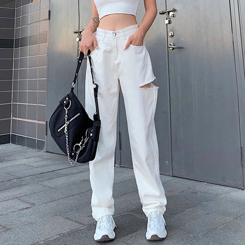 Straight high waist asymmetrical cutout trousers