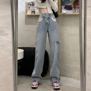 Irregular high waist ripped wide-leg jeans