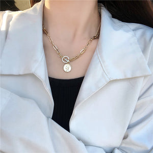 Portrait double necklace metal chain pendant clavicle chain