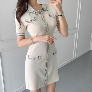 Retro single-breasted short-sleeved knitted dress