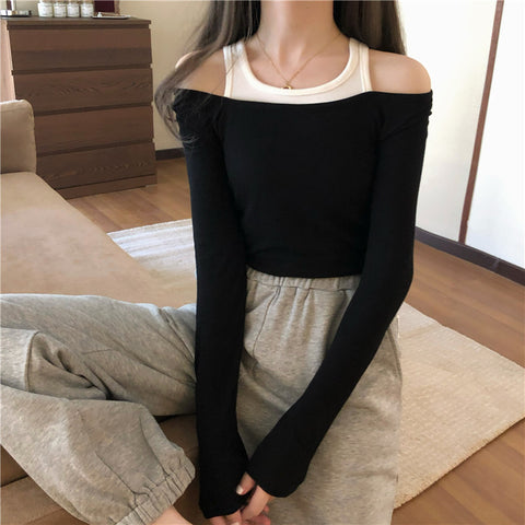 Stitching long-sleeved t-shirt off-the-shoulder top