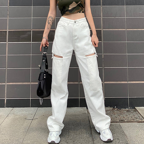 High waist cutout straight wide leg casual jeans