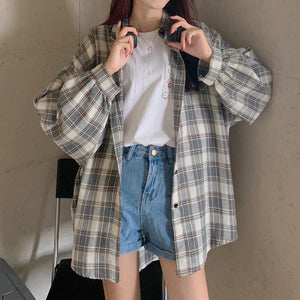 Coat plaid shirt outer long sleeve top