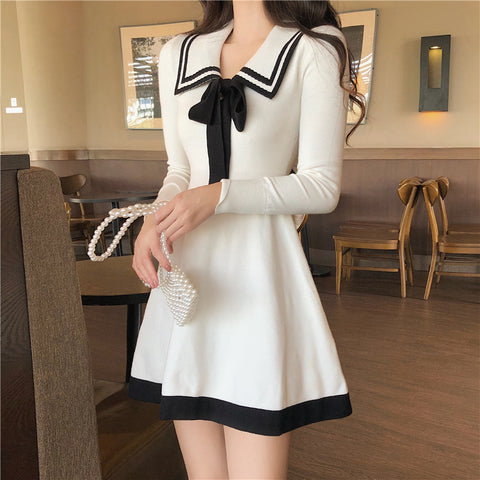 Long-sleeved knitted dress bow a-line dress trend