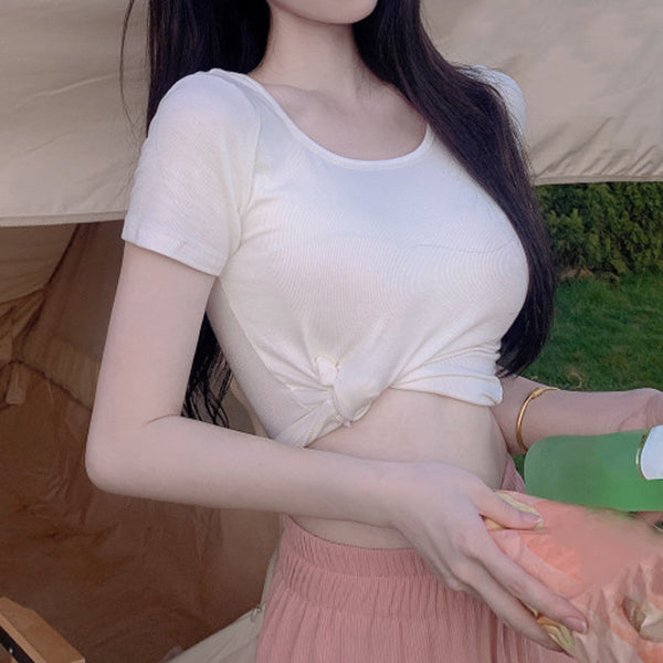 Crochet hollow puff sleeve knitted sweater