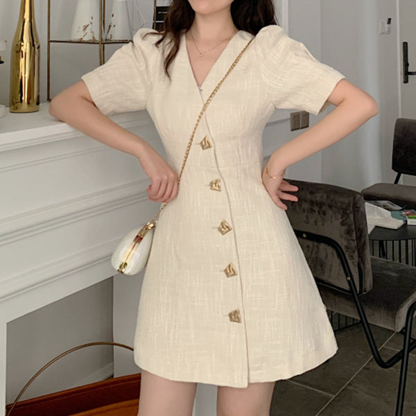 Retro v-neck bubble short-sleeved dress