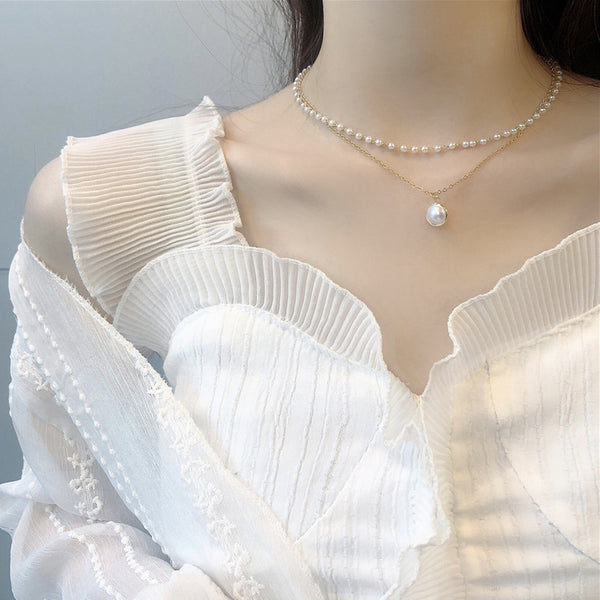 Retro double layer pearl clavicle chain necklace
