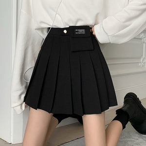 High waist pleated a-line short skirt