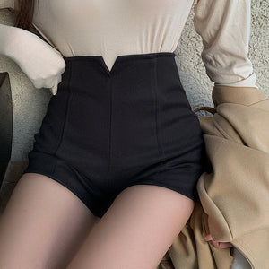 High waist woolen casual a-line short pants