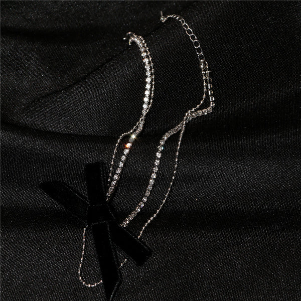 Bowknot rhinestone stitching necklace double clavicle chain
