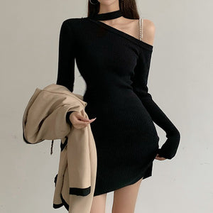 Knit sweater halter neck strapless long sleeve dress