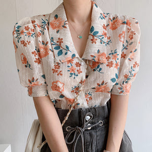 Heavy craft fabric embroidered printed floral shirt