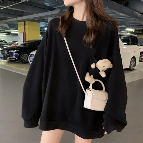 Bear long sleeve sweatshirt round neck coat