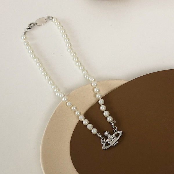 Saturn pearl clavicle chain necklace retro