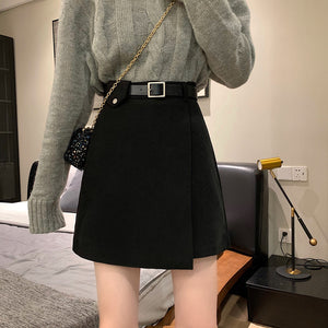Woolen high waist short a-line skirt