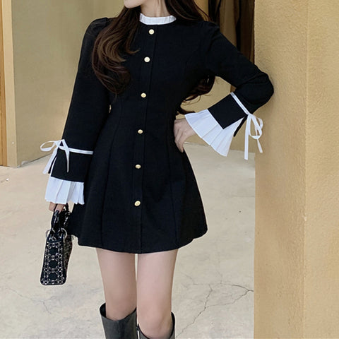 New style temperament black long-sleeved dress