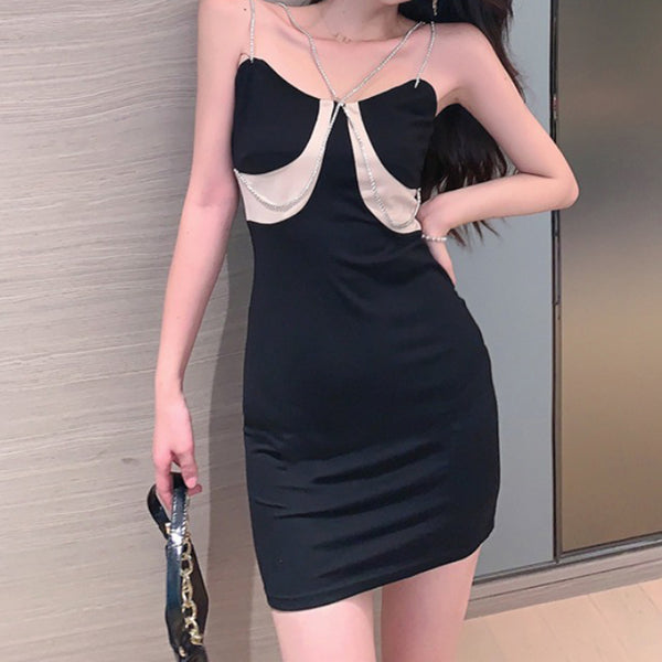 New style sexy black temperament suspender dress