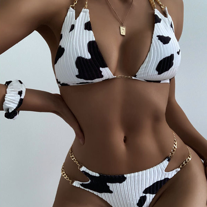 New bikini chain cow print sexy backless split swimsuit