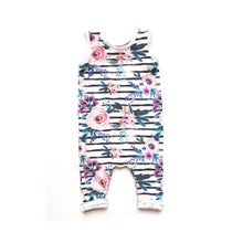 Load image into Gallery viewer, Girls Stripe Floral Romper