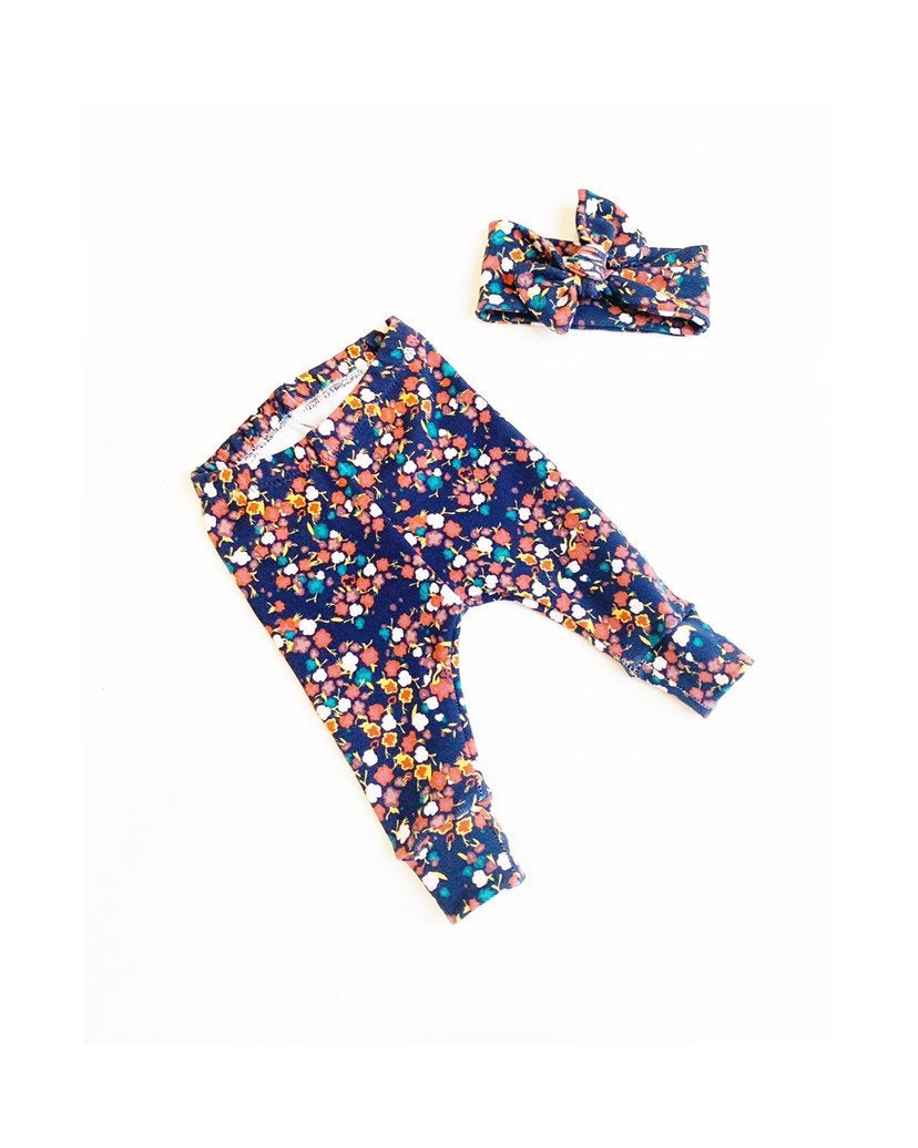 Girls Floral Navy Leggings