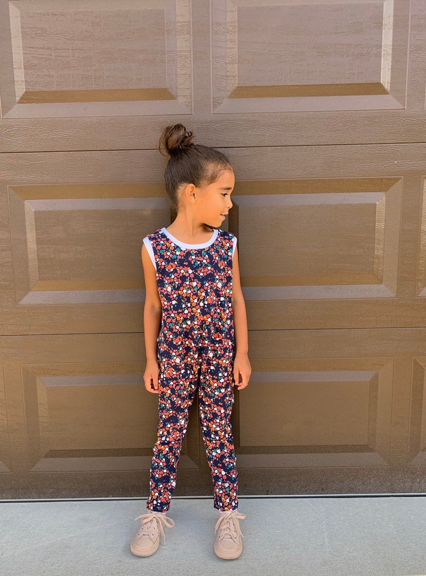 Girls Navy Floral Romper