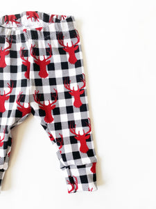 Unisex Reindeer Buffalo Plaid Leggings