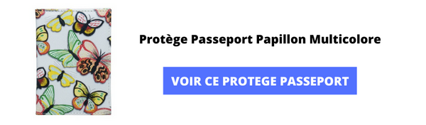 Protege passeport papillon multicolore