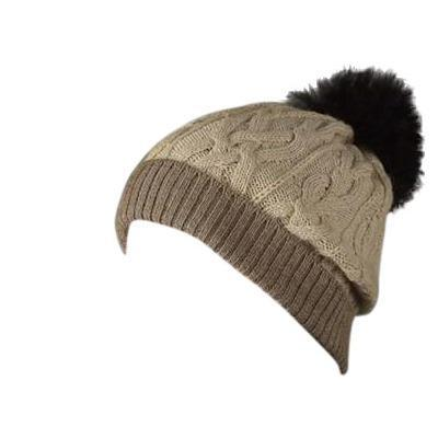 100% Alpaca Pom-Pom Hat - Oatmeal and Light Brown