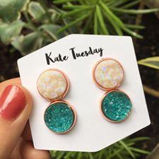 Double White + Turquoise Druzy Earrings Set