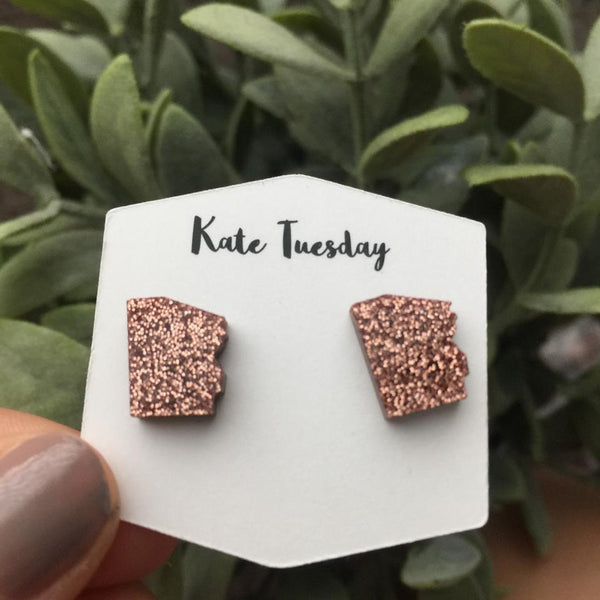 Rose Gold Arizona State Stud Earrings