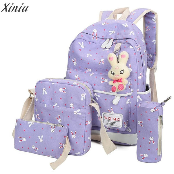 4 Sets Backpack Women School Bags For Teenagers