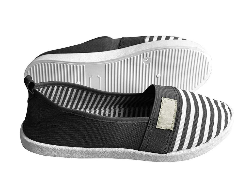 Striped Lightweight Canvas Classic Casual Slip On Shoes Sneakers (8,