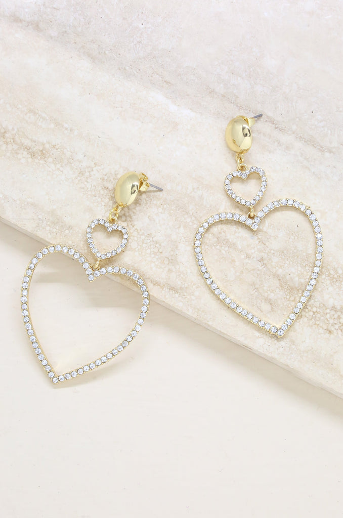 Double Heart Crystal Drop 18k Gold Plated Earrings