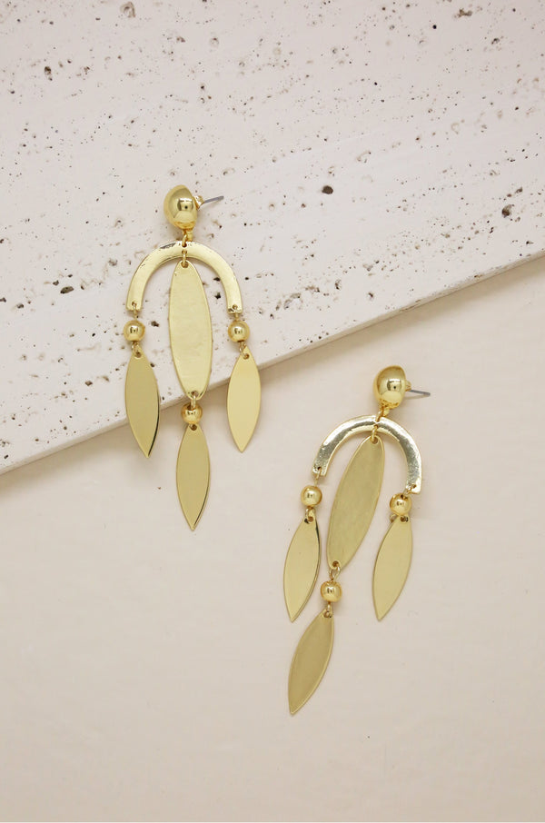 Balanced Geometric Drop Earrings in Gold