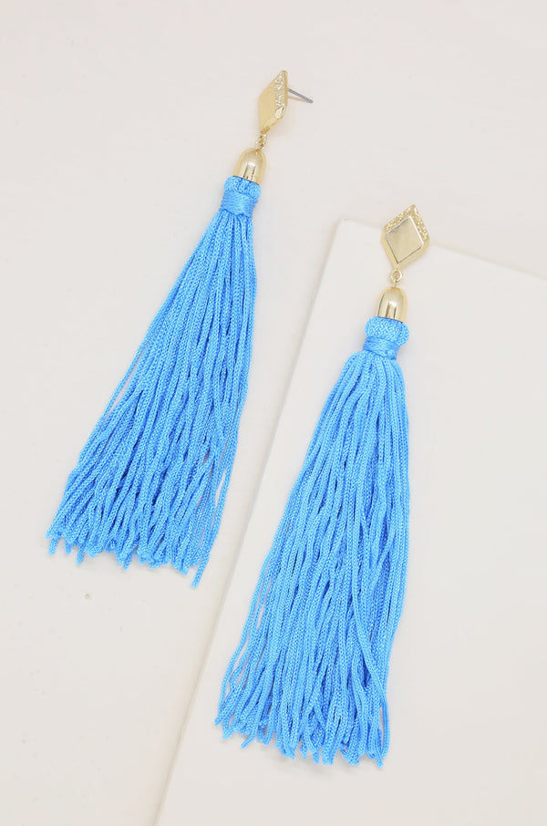 Mon Cheri Tassel Earrings in Blue and Gold