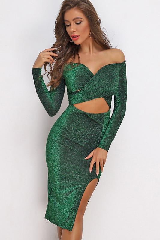Bewlady Sexy Belly Party Long Sleeve Dress Overlay Slash Neck