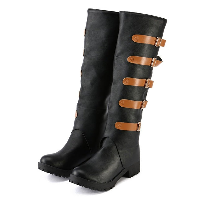 Fashion Boots Leather Vintage Knee Boots Female